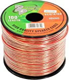 100ft 18 Gauge Speaker Wire - Copper Cable in Spool for Connecting Audio Stereo to Amplifier, Surround Sound System, TV Home Theater and Car Stereo - RSW18100
