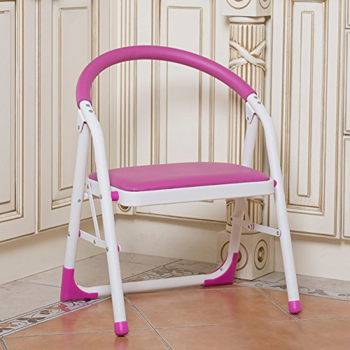 YI GAO Kitchen 2 Step Stool Chairs for Adults & Kids Iron Small Folding Anti-Slip Ladder Portable Footstool/Stepladder/Storage Shelf/Flower Rack Step Stool (Color : Pink, Size : 1 Tiers)