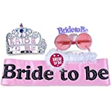 Bridal Shower Sash - Hen Party Accessories - Bachelorette Party Kit For Bride To Be - Pink Sash With Rhinestones, Glitter Tiara (Crown), Pink Glasses And Garter With Lace And Feathers by SmitCo LLC