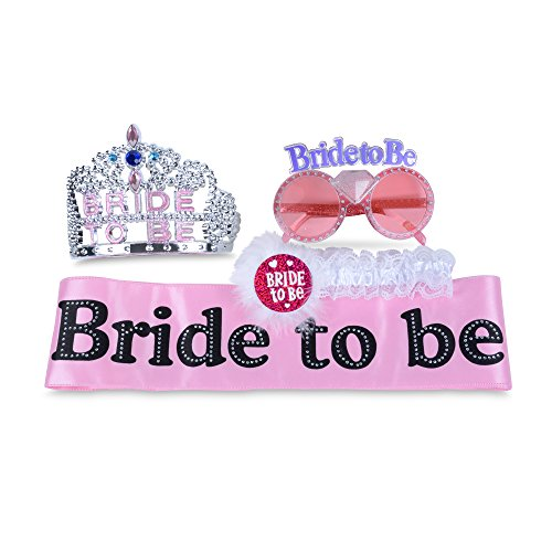 SmitCo LLC Bachelorette Party Sash Set, Hen Party Accessories, Bridal Shower Kit For Bride To Be, Pink Sash With Rhinestones, Glitter Tiara (Crown), Pink Glasses And Garter With Lace And - Glasses Big Bang Top