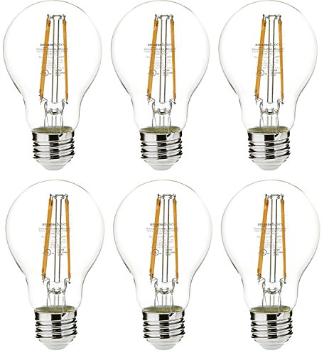 AmazonBasics 60 Watt Equivalent, Clear, Non-Dimmable, A19 LED Light Bulb | 6-Pack