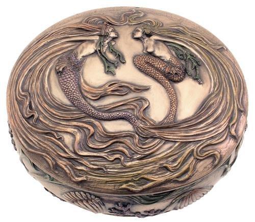 5 Inch Cold Cast Bronze Finish Golden Dancing Mermaid Trinket Box by TLT