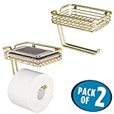 mDesign Wall Mount Toilet Tissue Paper Roll Holder and Dispenser with Storage Shelf for Bathroom Storage - Wall Mount, Holds and Dispenses One Roll - Pack of 2, Durable Metal in Soft Brass
