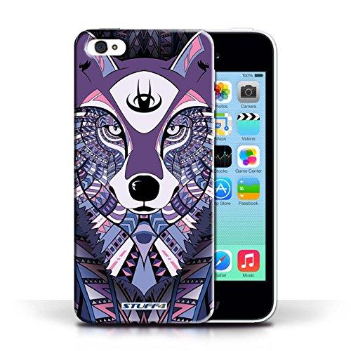 Etui / Coque pour Apple iPhone 5C / Loup-Pourpre conception / Collection de Motif Animaux Aztec