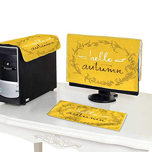 - Miki Da Plastic Computer dust Cover 22''MonitorSet Hello Autumn Vintage Card with a Berries and Leafs Wreath