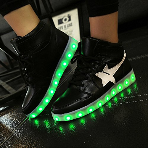 Annabelz Led Chaussures Allument Usb Charge Femmes Haut Top Chaussures Mode Sneakers Noir