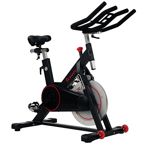 (Sunny Health & Fitness Magnetic Belt Drive Indoor Cycling Bike with High Weight Capacity and Tablet Holder - SF-B1805)