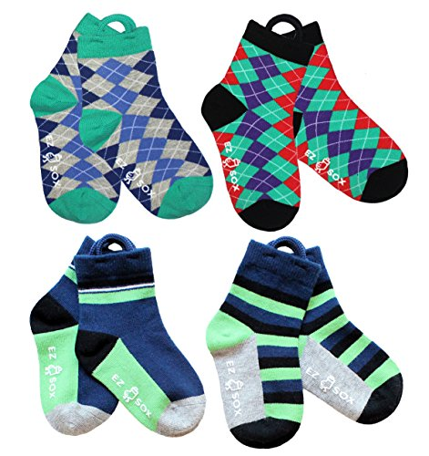 Boys Socks, Non Skid Grippers, Seamless, Argyles-Blue, 5-9 (Pull Up Socks)