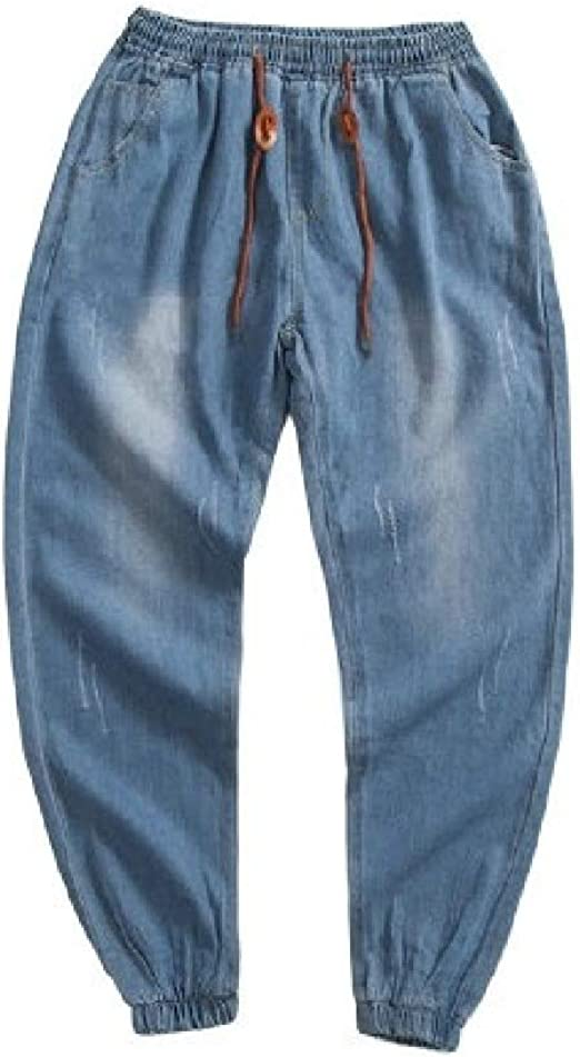 Romancly メンズバギーソリッド塗り、洗ったプラスサイズの穴ポケットストレッチジーンズ