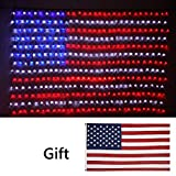 Led Flag Net Lights of The United States, Super Bright LED Waterproof American Flag Light for Independence Day, Memorial Day, Garden, Indoor and Outdoor+Gift: American Flag