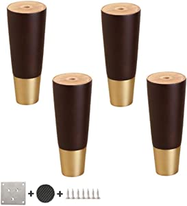 MWPO 4Pcs Solid Wood Sofa Legs, Straight Tapered Furniture Legs Support Feet, Wooden Coffee Table Bed Accessories for Tv Tables Stools (10.5-30.5cm)