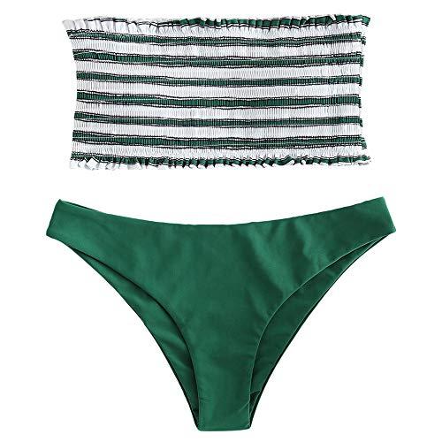 ZAFUL Women's Striped Smocked Bandeau Bikini Set Strapless Shirred Padded Two Piece Swimsuits Sea Green S