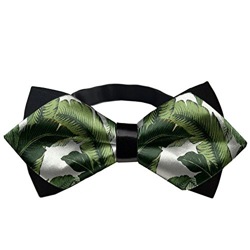 YEAHSPACE banana leaves Men's Pre Tied Bow Tie for Wedding Party