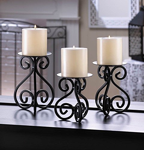 Black Scrollwork Pillar Candle Stands Set Of 3 Iron Pedestals Varied Heights