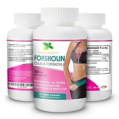 Express Health Pro Pure Forskolin 250MG Weight Loss & Appetite Control Supplement: Coleus Forskohii Extract Vegetable Capsule