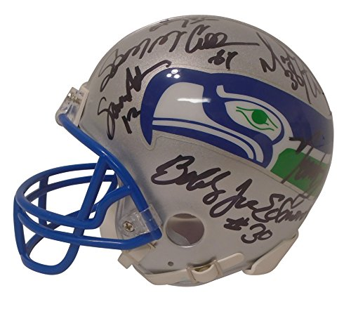 Hand Steve Largent Signed (Seattle Seahawks Legend and Alumni Signed Hand Autographed Riddell Mini Football Helmet with 13 Signatures Total and Proof Photos of Signing, COA, Steve Largent, Dave Krieg, Jim Zorn)