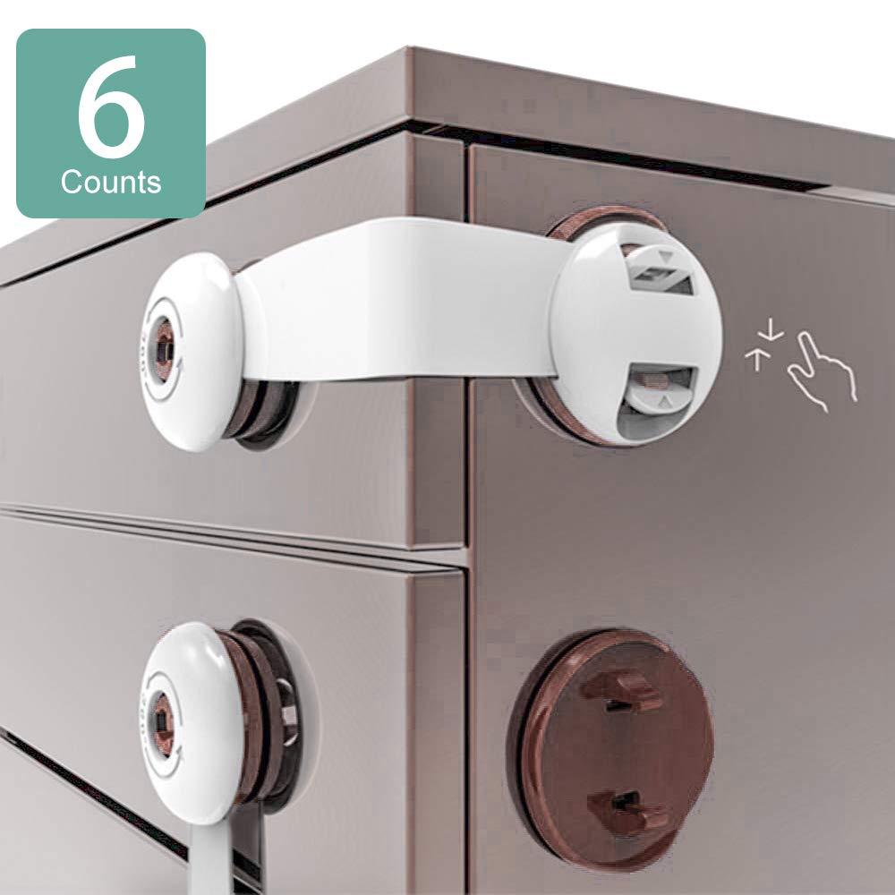 Closet Refrigerator Trash Child Safety Cupboard Locks Adhesive Child Proof Fridge Latch no Screw Baby Proofing Lock Stick on for Kitchen Drawers Fridge Freezer 6PCS