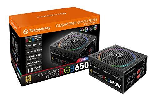 - Thermaltake Toughpower Grand RGB 650W 80+ Gold MB 12V RGB Sync SLI/Crossfire Ready Smart Zero Fan Full Modular Power Supply PS-TPG-0650FPCGUS-S 10 Year Warranty