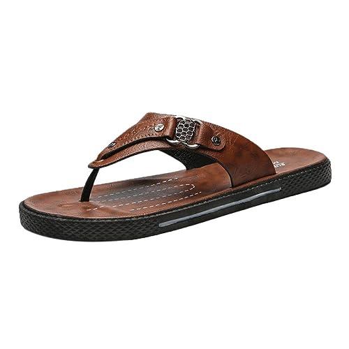 Fami Scarpe estive per Uomo Ciabatte per il Tempo Libero Infradito Comode Scarpe da Spiaggia Sandali Morbidi (42 CN, Blu)