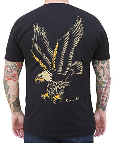 Men's Eagle by Rick Walters Long Beach Old School Tattoo Artist Black T-Shirt