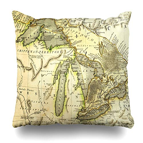 Ahawoso Throw Pillow Covers Antique Michigan Early Map Great Lakes Printed Bordeaux Historic Vintage Ontario Old Erie Superior Home Decor Zippered Pillowcase Square Size 16 x 16 Inches Cushion Case