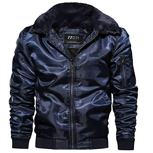 - succeedtop Men's Big and Tall Lightweight Packable Jacket Men's Winter Loose Fitting Flight Suit Coat Winter Thickening Coat Zipper Warm Winter Thick Coat Jacket Slim Coat Outwear (XL, Navy)