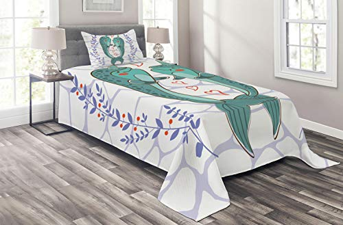 Adoration Quilts - Ambesonne Narwhal Coverlet, Valenties Day Themed Illustration with Colorful Whales in Love Aquatic Adoration, 2 Piece Decorative Quilted Bedspread Set with 1 Pillow Sham, Twin Size, Teal Mauve