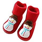 Christmas Cartoon Thick Anti Slip Soft Sole Slipper Floor Socks Prewalkers For Baby Infant Toddler 0-24 Months (F,One Size)