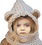 Spring Fever Kids Knitted Winter Hat Fox Cat Animal Hooded Coif Oversize Warm Beanie Scarf Set Khaki Bear One Size