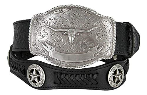 (State of Texas Longhorn and Star Western Embossed Leather Belt (36, Black))