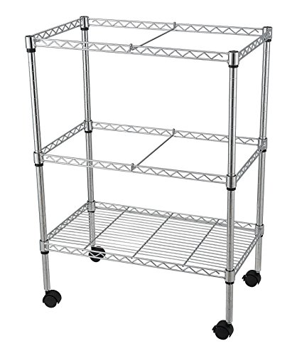 Sandusky Lee MWFC241430 Double-Tier Rolling File Cart, Chrome, 24'' Width x 14'' Depth x 32'' Height by Sandusky