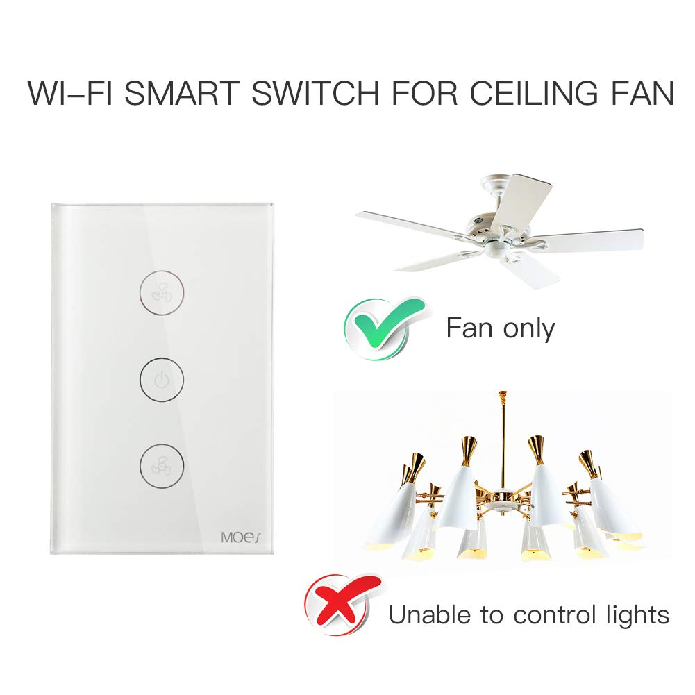 Moes Wifi Smart Ceiling Fan Switch App Remote Timer And Speed Wiring Diagram In Addition Single Pole Light Control Compatible With Alexa Google Home No Hub Required
