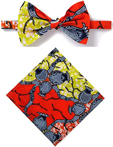Unisex Ankara African Print Kente Bow Tie And Pocket Square Set (COLOR D) ()