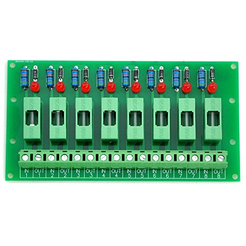 Electronics-Salon 8 Channel Fuse Interface Module, for DC 5~48V, Din Rail Mount, w/ Fail Indicator