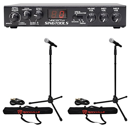 VOCOPRO SINGTOOLS DSP Vocal Effects Karaoke Mixer w/Pitch Correct+2) Mics+Stands ()
