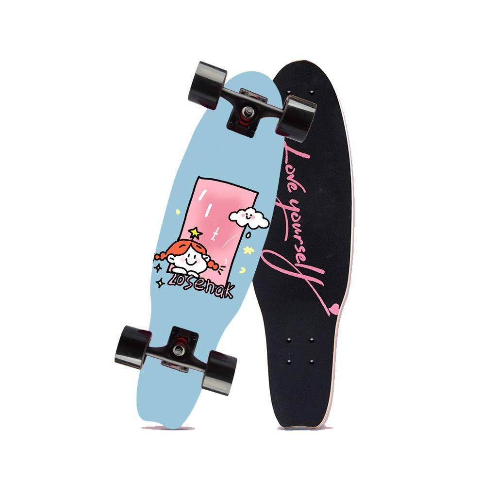 HXGL-Skateboards Small Fish Plate Brush Street Professional Skateboard Board Travel Youth Children Adult Boys and Girls Big Fish Board - Cloud Girl (Size : L)