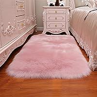 MAXYOYO Faux Sheepskin Rug Faux Fur Area Rug for Bedroom, Bedside Rug Ultra Soft Floor Mat Plush Sofa Cover Seat Throw Rug Modern Shaggy Rug, Pink, 2.6ft x 5.2ft