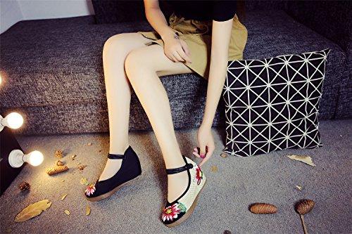 Sandales Augmenté Noir Femmes Chaussures Multicolore Lotus Broderie Dansant ZHqHRX