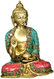 Enhance your home and garden by this graceful vintage finish 'Blessing Buddha Statue', symbol of peace and harmony. This large Buddha is in Abhaya pose and made of very high quality with detailed hand work. This would be a one of very exclusi...