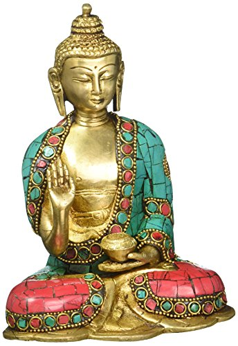 AONE INDIA Tibetan Abhaya Buddha Idol India Decor Antique Brass Statue Chinese Sakyamuni Buddhism Feng Shui Gifts + Cash Envelope (Pack Of 10)