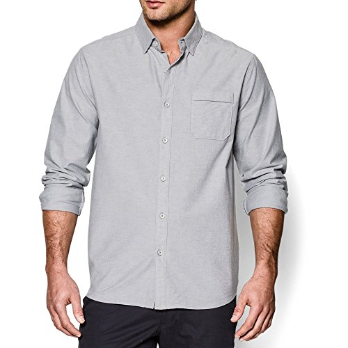 Under Armour Men's Performance Oxford Shirt, True Gray Heather/Steel, Medium