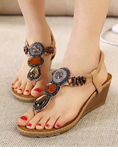 MatchLife Women's Bohemian Beaded Ankle Strap Sandals Summer Flip Flops Beach Sandals Style1-Apricot QOl9W
