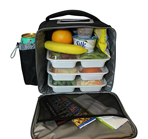 Insulated Lunch Bag for Men Women Adult Large Lunch Box by LeDish - Black Square Cooler Tote Bag with Adjustable Shoulder Strap and pockets - Best Reusable Lunchbox