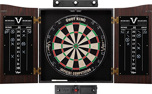 Dartboard Cabinet - Viper Vault Sisal/Bristle Steel Tip Dartboard & Cabinet Bundle: Elite Set (Shot King Dartboard, Darts, Shadow Buster Laser Throw Line)