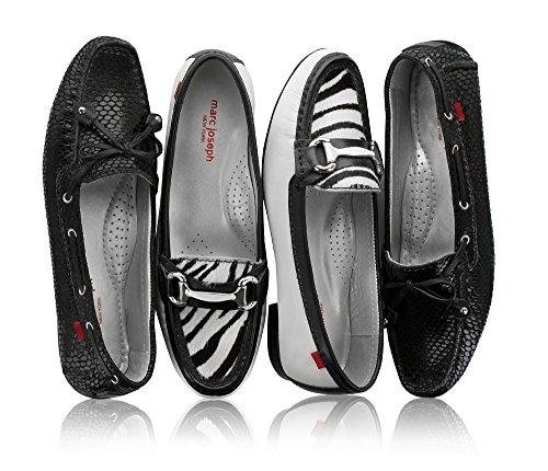 Echtes Leder der Frauen hergestellt in Brasilien-beiläufigen Cypress-Hügel-Fahrer Marc Joseph NY Fashion Shoes Schwarze Schlange