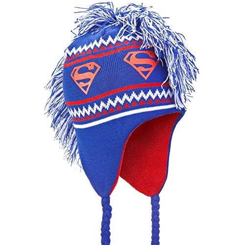 Old Glory Superman - Unisex-Adult Superman - Logo Mohawk Peruvian Knit Hat Dark Blue]()