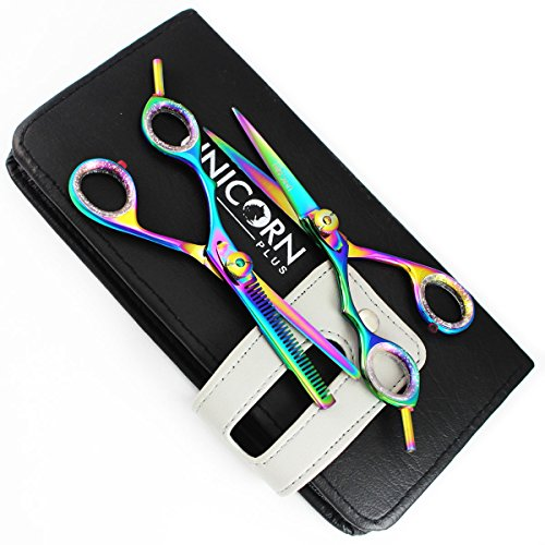 """Left Handed 5.5"""" Professional Razor Edge Japanese Steel Hairdressing Scissors Set - Lefty Barber Hair Cutting Scissors + 1 x Professional Hair Thinning Shear ( 13.971 Cm ) + Free - Barber Lefty's"""