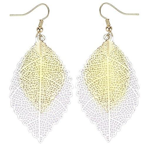 Leaf Design Earrings - NOVMAY Womens Earrings Double Leaf Lightweight Vintage Design Earrings for Women Girls (Golden and silver)