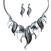Tagoo Cute Anti-Allergic Jewelry Set for Women&Girls Pendant Necklace Drop Earrings Piercing Resin Austrian Crystal Rhinestone Party/Wedding/Casual
