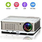 Portable Android WiFi Video Projector Home Cinema, Support 1080P 720P Airplay Wireless LED LCD Projector, Built-in Speaker Keystone for PC Laptop Video DVD Smartphone Game Consoles